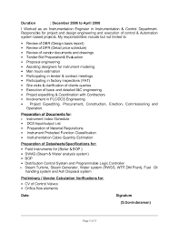Instrumentation Project Engineer Resume Cv Of Control And Instrumentation Engr
