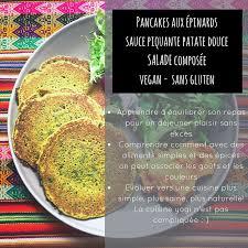 comment cuisiner sans gluten pancakes aux épinards et sauce piquante sans gluten vegan yogisa