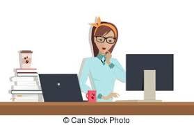 travaux de bureau femme sien travaux ordinateur bureau commercial vecteur