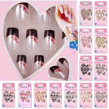 24pcs set 3d pre design nail tips acrylic false french full nails