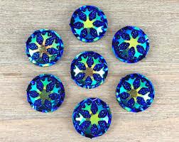 hair bow supplies blue swirl hair bow center blue cabochon iridescent blue