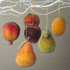 large frosted fruit baublesset of six apple two pears
