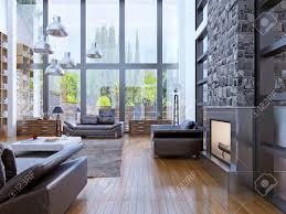 loft apartment interior design with panoramic window living