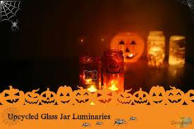 assorted upcycled glass jar halloween luminaries