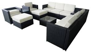 wicker outdoor sofa mcombo 13 piece black wicker patio sectional outdoor sofa