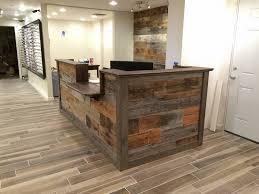 Wood Reception Desk Made Custom Barn Wood Reception Desk By Defiance Hardwood