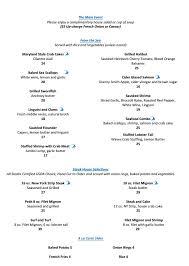Filet Mignon Menu Menucard 2 Columns Waves On Main Restaurant Belmar Nj 732 681 7680