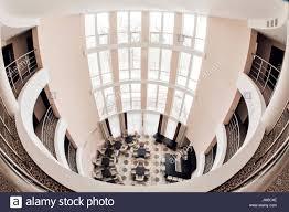 modern luxury hotel lobby interior high ceiling stock photo