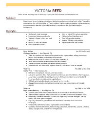 exles of resumes for restaurant how to write a resume sle buckey us