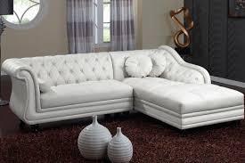canapé droit 4 places canapé d angle droit 4 places pu capitonné blanc côtécosy