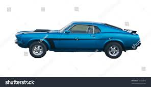 Classic American Muscle Cars - blue classic american muscle car black stock photo 10421872