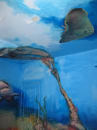 erika atzl ocean mural comission i painted the shark the centerpiece of the mural to fit behind the door so that when a person closes it they will find a huge ferocious surprise