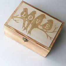 personalized wooden keepsake box birds wedding guest book custom wedding box