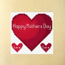 Mother S Day Designs Red Heart Happy Mothers Day Design Cross Stitch Card Kit 5 5 X 5 5