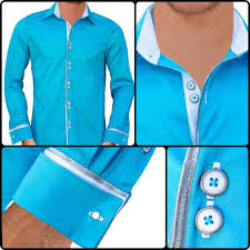 light blue with white french cuff dress shirts