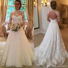 2016 vintage full lace wedding dresses long sleeve backless