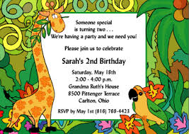 Jungle Birthday Card Jungle Jubilee Second Birthday Invitations