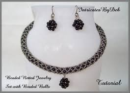 black beaded rope necklace images Tutorial beaded netted rope necklace earring jewelry set jpg