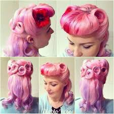 50s updo hairstyles 40s and 50s inspired pink hair vintage style with pin curls and