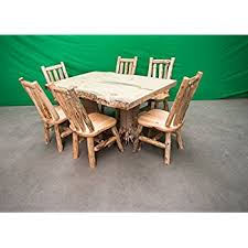 rustic log dining room tables amazon com midwest log furniture rustic pine log dining table w