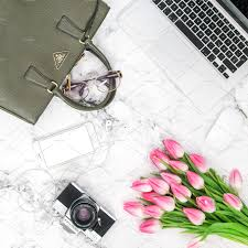 Office Desk Flowers by Lili Graphie Liligraphie Styled Fashion Mockup Collection