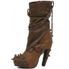brown leather motorcycle boots faline 2 color brown gothic boot with biker spikes and chains 5