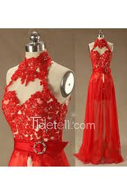sale a line high neck lace prom dress with detachable skirt