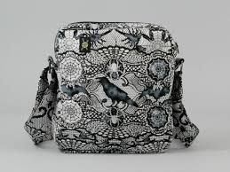 gothic black and white small crossbody bag with pockets ravens