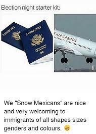 Canada Snow Meme - election night starter kit passport pair canada america we snow