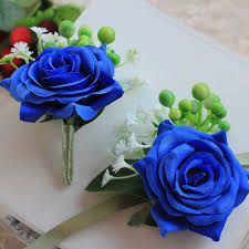 royal blue corsage and boutonniere 1 pieces package royal blue wrist corsage groom boutonniere