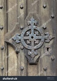 detail oak door ornamental ironwork stock photo 72066337
