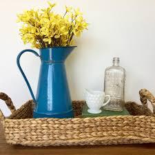 rustic vintage home decor blue enamel pitcher vintage enamelware vintage home