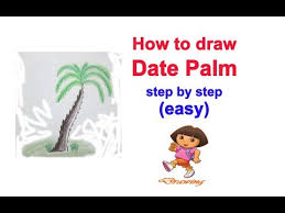 how to draw date palm tree step by step easy youtube