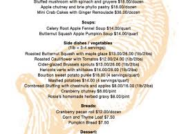 rosie thanksgiving catering menu new canaan ct patch