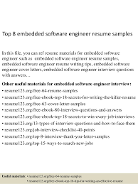 Software Developer Resume Examples by Top 8 Embedded Software Engineer Resume Samples 1 638 Jpg Cb U003d1431567724