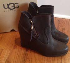 nib ugg australia emalie wedge waterproof ankle boot black zip ugg australia leather wedge ankle boots for ebay