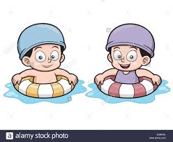 vector illustration of kids swimming cartoon stock vector art