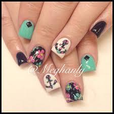 anchor nails nail art summer nails flower print nails