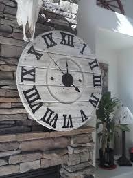 spool clock rustic wall clock industrial wall clock large wall