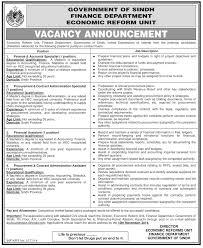 Financial Management Specialist Resume Government Of Sindh Finance Department Economic Reform Unit Jobs