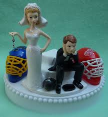 hockey cake toppers team rivalry hockey house divided key themed wedding cake topper