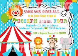 Invitation Cards To Print Colorful Circus Birthday Invitation You Print Digital File