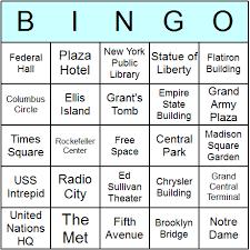 new york landmarks bingo cards printable bingo activity game