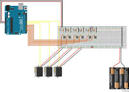 how to control 3 servo motors using push button switches and an