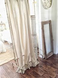 Ruffle Bottom Blackout Panel by Ruffled Linen Curtain Panels Ruffled Curtains Farmhouse