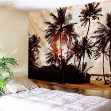Light Colored Tapestry Sunset Palm Tree Wall Hanging Fabric Tapestry Light Brown W Inch