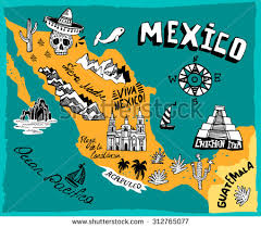 mexico on map illustrated map mexico attractions stock vector 312765077