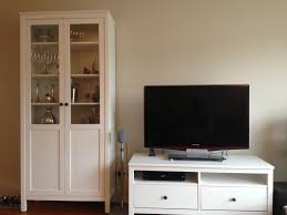 cheap white ikea hemnes bookcase with tv stand and three drawers