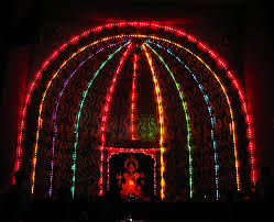 electric light decoration on diwali wanker for