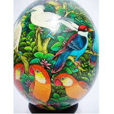 yuli store colored painted ostrich egg with a carved